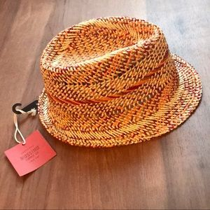Mossimo Pink and Orange Straw Fedora Hat - OS